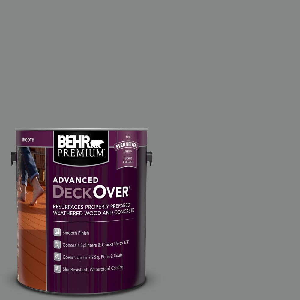BEHR PREMIUM ADVANCED DECKOVER 1 gal. #PFC-63 Slate Gray Smooth Solid Color Exterior Wood and Concrete Coating