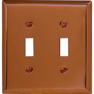 Metallic 2 Gang Toggle Steel Wall Plate - Antique Copper