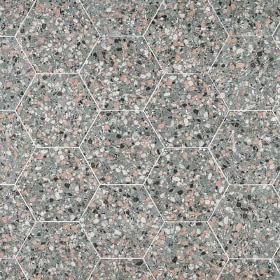 Malati Teal 12.5 in. x 14.5 in. Matte Porcelain Hexagon Floor and Wall Tile (10.51 sq. ft./Case)