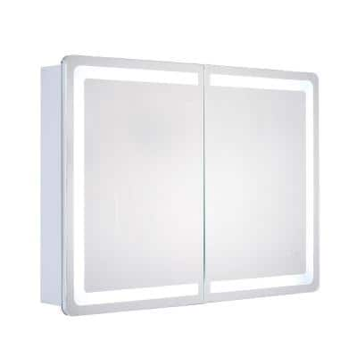 Egret 34 in. x 24 in. Surface-Mount Medicine Cabinet with LED Tri - Color Mirror with Dimmer and Anti-Fog Pad