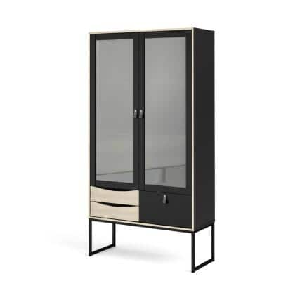 Stubbe Black Matte/Oak Structure 2 Glass Door China Cabinet with 3-Drawers