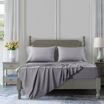 Handkerchief 4 Piece Grey Solid Cotton Blend Queen Sheet Set