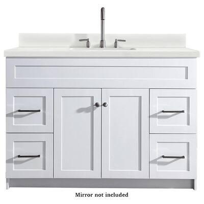Hamlet 49 in. Bath Vanity in White with Quartz Vanity Top in White with White Basin
