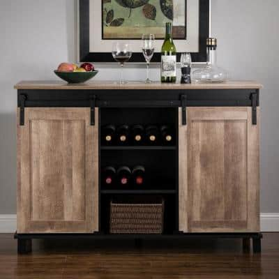 47.20 in. L Modern Industrial Black Wine Cabinet with with Natural Top and Sliding Doors