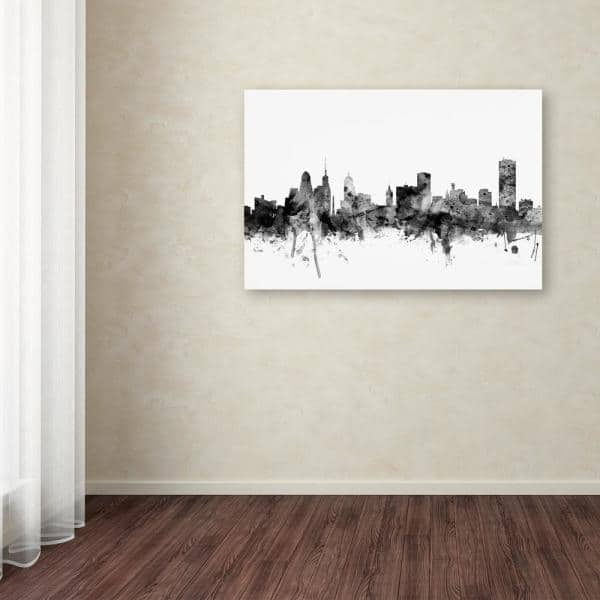 Trademark Fine Art Buffalo New York Skyline Black And White By Michael Tompsett Floater Frame Architecture Wall Art 16 In X 24 In Mt1081 C1624gg The Home Depot