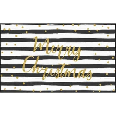 Christmas Stripe Black/White 2 ft. x 3 ft. 4 in. Scatter Area Rug