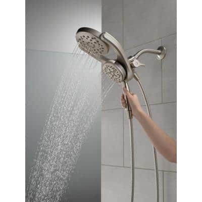 HydroRain Two-in-One 4-Spray Patterns 6 in. Wall Mount Dual Shower Heads with MagnaTite in SpotShield Brushed Nickel