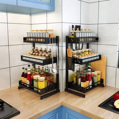 3 Shelf Standing Spice Rack Stainless Steel Black Countertop Storage Organizer with Knife Rack Cutting Board Hooks