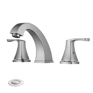 Manley 8 in. Widespread 2-Handle Brass Bathroom Faucet in Brushed Nickel with Pop Up Drain