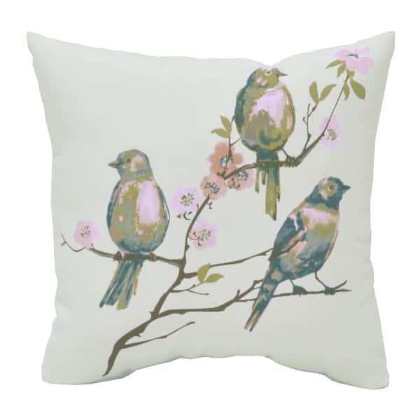 beachglass birds square outdoor throw pillow