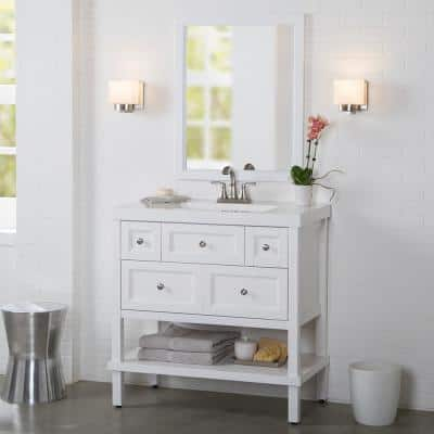 Ashland 37 in. W x 37 in. H x 19 in. D Bathroom Vanity in White with Vanity Top in White with White Sink