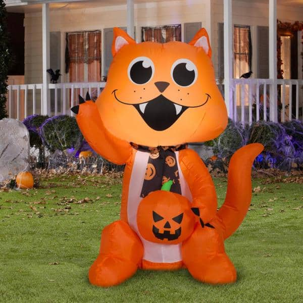 Gemmy 3 5 Ft H Big Eyed Cat With Scarf And Pumpkin Sm Halloween Inflatable G 222750 The Home Depot