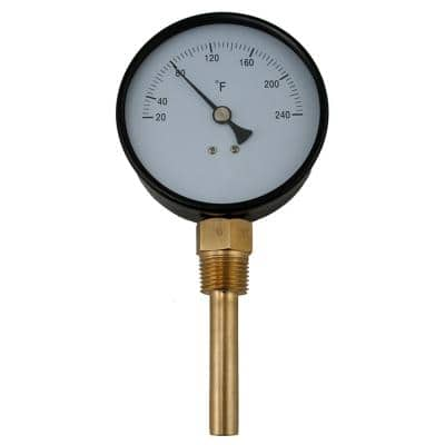 Bi-Metal Dial Thermometer Straight Outlet with Brass Well with 2-3/8 in. Stem and 1/2 in. NPT (20 to 240°F)