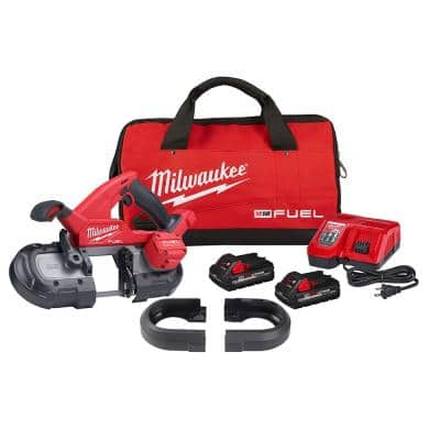 M18 FUEL 18-Volt Lithium-Ion Brushless Cordless Compact Dual-Trigger Bandsaw Kit with Two 3.0 Ah High Output Batteries