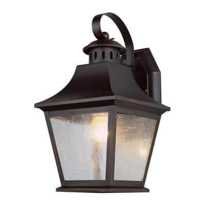 Stewart 1-Light Outdoor Rubbed Oil Bronze Incandescent Wall Lantern Sconce