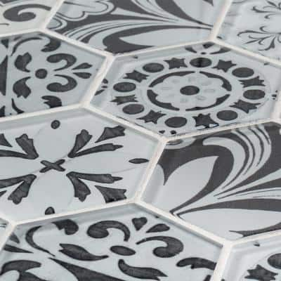 Morris Block White 12 in. x 10.375 in.Hexagon Glossy Glass Mosaic Tile (0.864 sq. ft./Each)