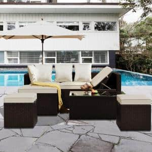 Brown 5-Piece PE Rattan Wicker Outdoor Furniture Sectional Sofa Set With Beige Cushion