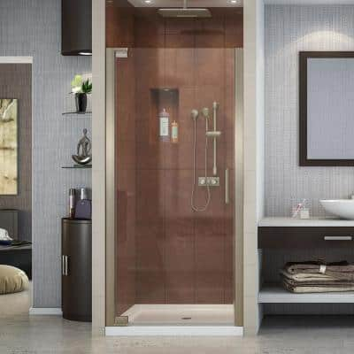 Elegance 32-1/4 in. to 34-1/4 in. x 72 in. Semi-Frameless Pivot Shower Door in Brushed Nickel