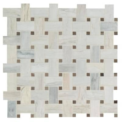 Angora Basketweave 12 in. x 12 in. x 10 mm Polished Marble Mosaic Tile (10 sq. ft. / case)