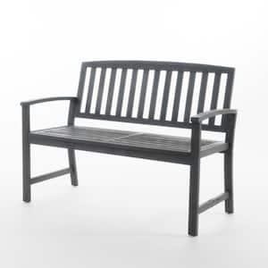 Callum 48.25 in. Dark Grey Finish Acacia Wood Outdoor Bench