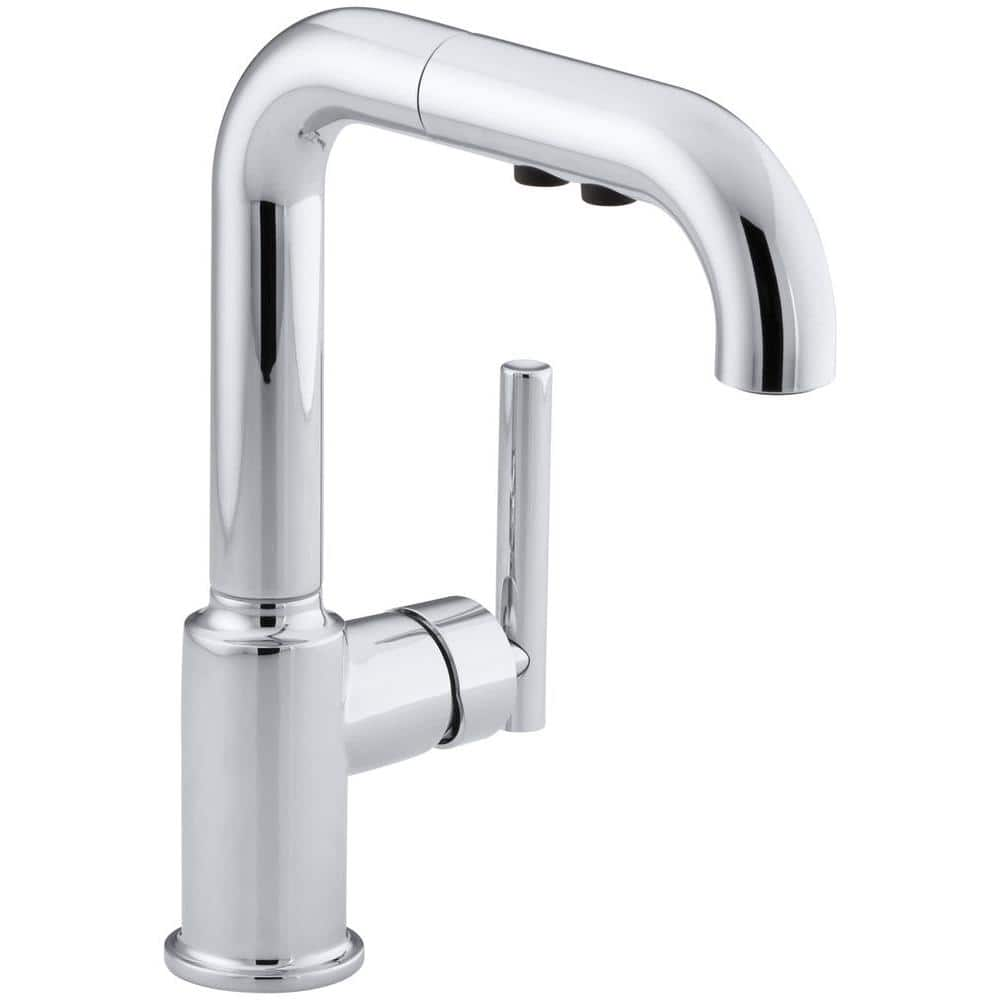 kohler purist single handle pull out sprayer kitchen faucet in polished chrome k 7506 cp the home depot