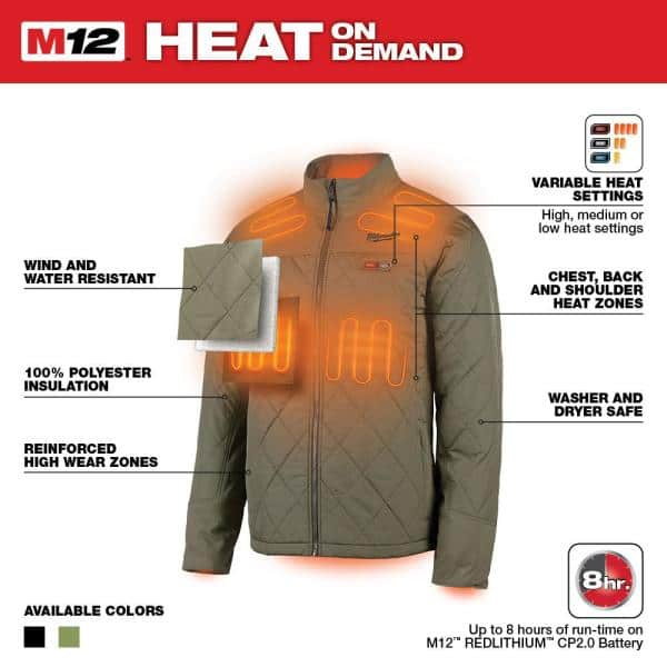Milwaukee Men S Large M12 12 Volt Lithium Ion Cordless Olive Green Heated Quilted Jacket Kit With 1 2 0ah Battery And Charger 203og 21l The Home Depot