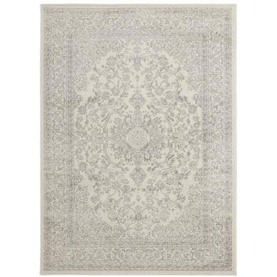 Montvale Collection Traditional Medallion Ivory 5 ft. 3 in. x 7 ft. Area Rug