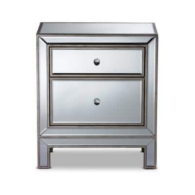 Fadri 2-Drawer Mirrored and Antique Sliver Nightstand 24 in. H x 21 in. W x 14 in. D