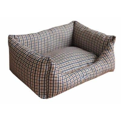 Rectangular Small Light Brown and Blue Plaid Bed