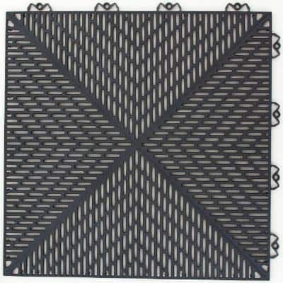 Unique 14.9 in. x 14.9 in. Graphite Polypropylene Garage Floor Tile (54 sq. ft. / case)
