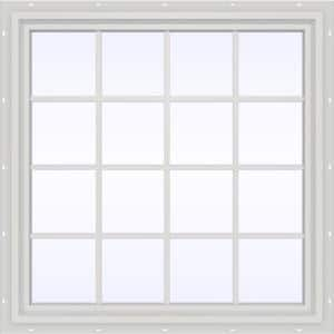47.5 in. x 47.5 in. V-4500 Series White Vinyl Fixed Picture Window with Colonial Grids/Grilles