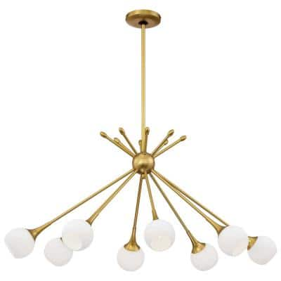Pontil 8-Light Honey Gold Chandelier with Etched Opal Glass Shade