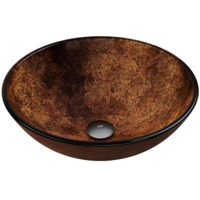 Glass Round Vessel Bathroom Sink in Russet Brown