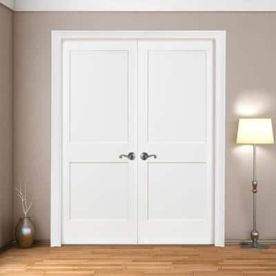 60 in. x 80 in. 2-Panel Square Shaker White Primed Universal SC Wood Double Prehung Interior Door with Bronze Hinges