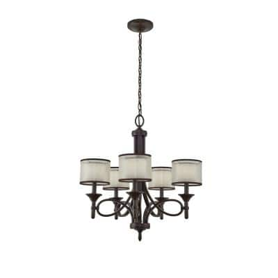 Lacey 5-Light Mission Bronze Chandelier with White Etched Glass Shade