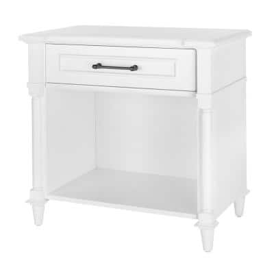 Bellmore 1-Drawer White Nightstand (32 in. W x 18.75 in. D x 30.5 H)