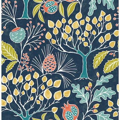 Shiloh Navy Botanical Navy Wallpaper Sample