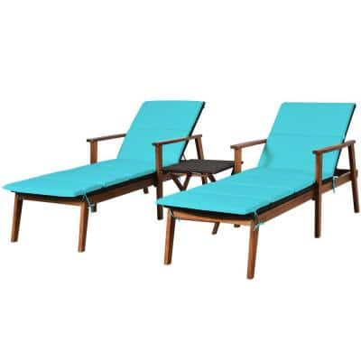 3-Piece Cushioned Outdoor Patio Rattan Adjustable Lounge Chair Set with Folding Table and Turquoise Cushion (2-Pack)