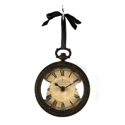Antique Round Iron Clock with Ribbon