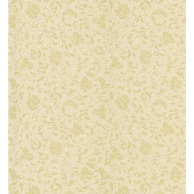 Cottage Living Gold Jacobean Stencil Wallpaper Sample