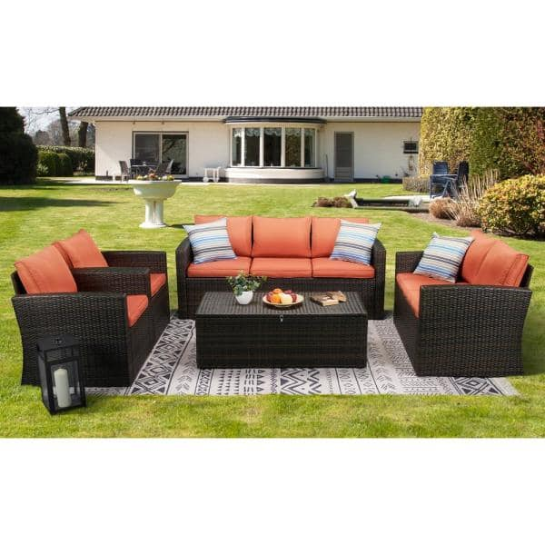 Boyel Living 5-Piece Wicker Outdoor Patio Conversation Furniture