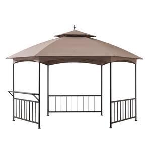 Britni 11 ft. x 13 ft. Brown Steel Hexagon Gazebo with 2-Tier Khaki Dome Canopy