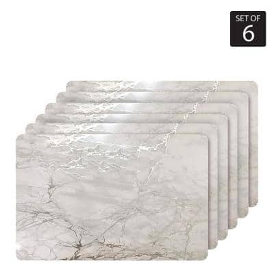 "Marble Cork 12 in. x 18"" In. Grays and Silver Cork Rectangle Placemats Set of 6"