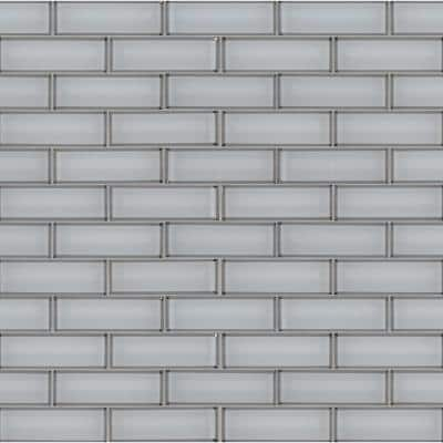 Ice Bevel Subway 11.73 in. x 11.73 in. x 8 mm Glossy Glass Mesh-Mounted Mosaic Tile (0.96 sq. ft.)