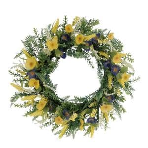 30 in. Artificial Poppy Floral Spring Wreath