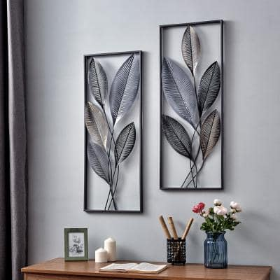 35.5 in. x 14 in. Metallic Leaves Wall Decor Set