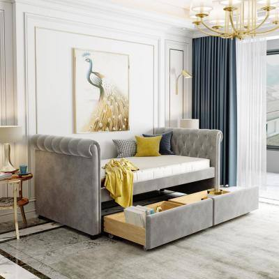 Elegant Gray Twin Size Daybed with Drawers