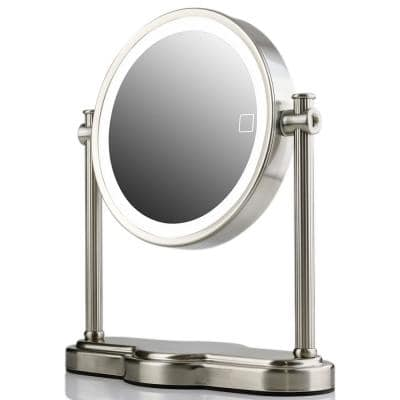 12.6 in. x 4.75 in. Modern Round Framed LED Lighted Tabletop Vanity Mirror with Auto Shut Off and 1x 10x Magnifications