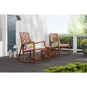 Hampton Bay Willow Glen Farmhouse Wood Rocking Chair w/Cushion Deals