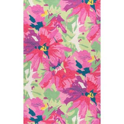 Gagnon Neon Floral Multi 8 ft. x 10 ft. Area Rug